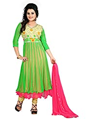 Rajnandini Women's Softnet Stitched Salwar Suit Set ( Green _Free Size)