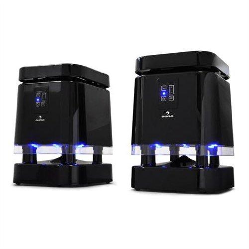auna funk lautsprecher system mit downfiring subwoofer bis 100m led lichteffekt test. Black Bedroom Furniture Sets. Home Design Ideas