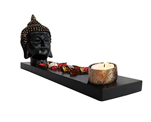 TiedRibbons® Gift For Diwali Buddha Idol with t-light Holder(Resin, Golden) and Wooden Tray with Tealight Candle