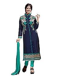 Subhash Sarees Daily Wear Navy Blue Color Chanderi Silk Salwar Suit Dress Material