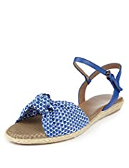 Footglove&#8482; Fashion Wide Fit Raffia Knot Sandals