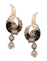 Bindhani Rose Gold Plated Drop Earrings For Women