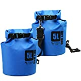 [2 PACK] Premium Dry Bags - two 500D PVC Tarp waterproof dry bags (170 Oz) for outdoor activities and watersports - Lifetime Warranty (Blue)