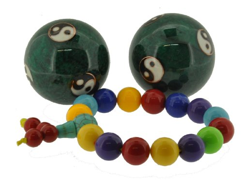 Green Yin Yang Sign Small Chinese Metal Health Exercise Stress Balls, Massage Balls, 1.65 Inches, Free Multi-color Wrist Mala