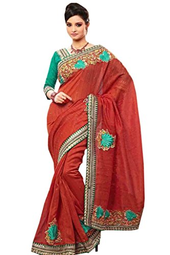 Zohraa Red Jute & Silk Saree Sari - Amkay353B