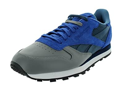 Reebok Men's CL LTHR R12 Lace-Up Fashion Sneaker,Stash/Ultramarine/Athletic Navy/Medium Grey,7.5 M US