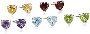 Sterling Silver Amethyst, Citrine, Blue Topaz, Garnet and Peridot Heart Stud Earrings , Set of Five