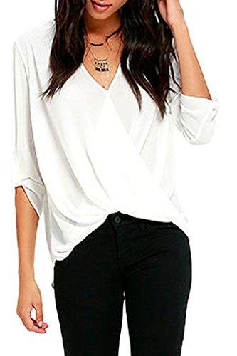 Sidefeel Women Half Sleeve V Neck Ruffle Loose Fit Blouse Top X-Large White (Silk Top compare prices)