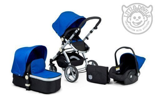 Black & Blue Carrera Sport 3-in-1 Baby Travel System/Pushchair/Pram/Buggy/Stroller