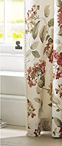"Flowers Floral Red Green Cream Lined 90"" X 72"" - 229cm X 183cm Pencil Pleat Curtains by Curtains"