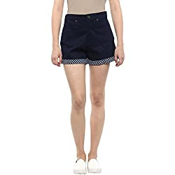 Hypernation Blue Color Cotton Shorts For Women