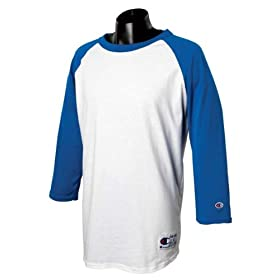 Champion Tagless Raglan Baseball Jersey T1397 (Medium / White/Navy)