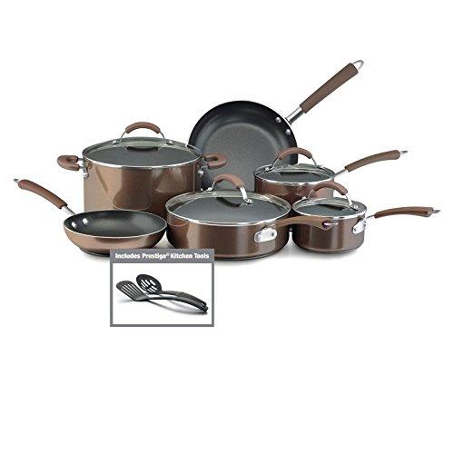 Farberware Millennium Nonstick Aluminum 12-Piece Cookware Set, Bronze (Farberware Glass Top compare prices)