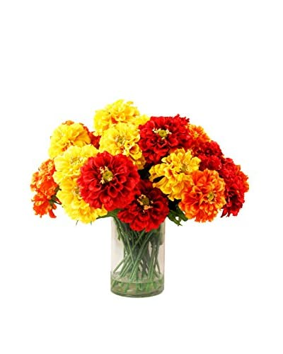 Creative Displays Mixed Zinnia Water Floral, Yellow/Red/Orange