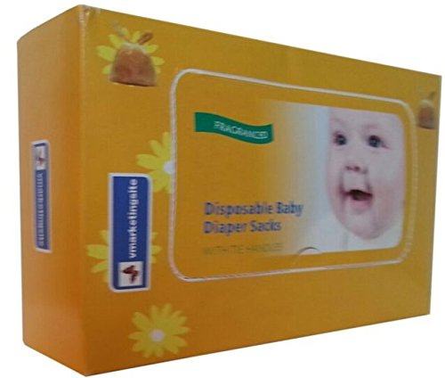 250-Count vmarketingsite Baby Disposable Diaper Sacks/Nappy Sacks. Scented Disposal Diaper Bags With Tie Handles. Convenient & Hygienic Way to Dispose of Soiled Diapers, Baby Wipes & Tissues.