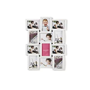 """Holds 12 3D Aperture Multi Image Photo Frame, 4"""" x 6"""", Available in Black & White (White)"""