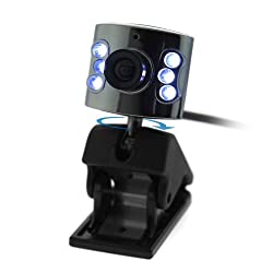 Fosmon USB 6 LED PC Webcam with Mic for PC Notebook Laptop - Chrome Head