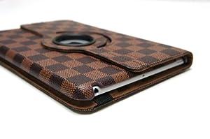 [Progress]iPad mini デザインカバー ダミエ柄 360度回転式スタンド 3Color 08 (BROWN)