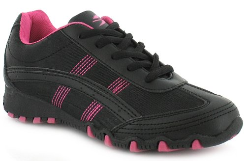 Womens/Ladies Black/Pink Lace Up Synthetic Value