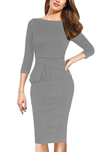 Viwenni Womens Vintage Cocktail Party Tunic Sheath Pencil work to wear Wedding Dress (Medium, Grey)