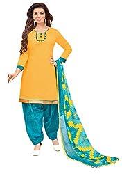 Vidhya LifeStyle Women's Glaze Cotton Patialas Unstitched Dress Material(Yellow)