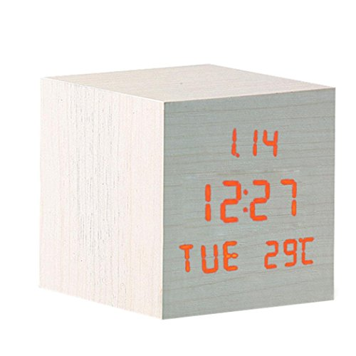 Modern Wooden Usb/Aaa Powered Digital Led Desk Alarm Clock Thermometer Esy1