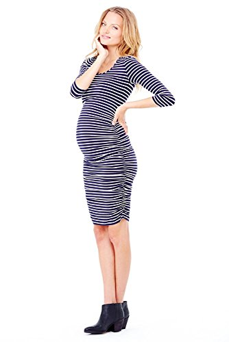Ingrid And Isabel Stripe 3/4 Sleeve Shirred Dress - Xs - True Navy & Cream front-619189