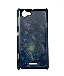 Exclusive Hard Back Case Cover For Sony Xperia L - 3D Blue Flower