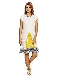 Jalebe Women's A-Line Dress_INDTJBL013_White_M