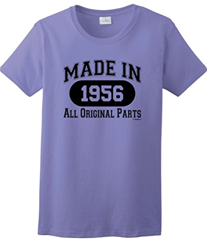 60th Birthday Candles Cards 60th Birthday Gift Made 1956 All Original Parts Ladies T-Shirt XL Violet