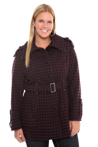 41yMt0UCyQL Torrid Plus Size Miss Sixty Purple Houndstooth Coat