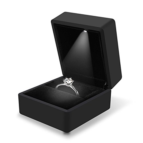 J.Rosée Proposal Engagement Ring Box Black Jewelry Organizer Velvet with LED Rubber Paint