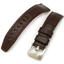 Louisiana Alligator Head Maroon 20mm Watch Strap, Brown Stitches
