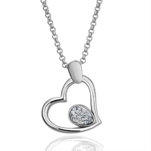 Virgin Shine Fashion Lover Heart Silver-Plate Necklace