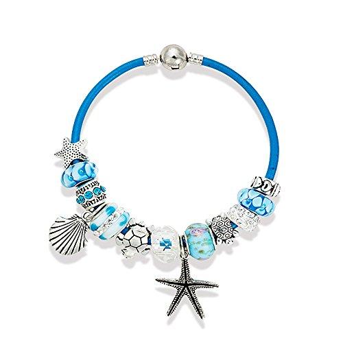 Charm Bracelet 7.5 Inch for Women Teen Girls Sea Beach Star Fish Turtle Dangle Blue Beaded Wrist Bangle (Gold Charm Brackets compare prices)