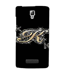 PrintVisa K Letter Bling Design 3D Hard Polycarbonate Designer Back Case Cover for Lenovo A2010
