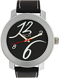 """Dice """"Bravo 1604"""" Casual Round Shaped Wrist Watch For Men. Fitted with Beautiful Black Color Dial, Attractive Case and Anti Allergic Leather Strap."""