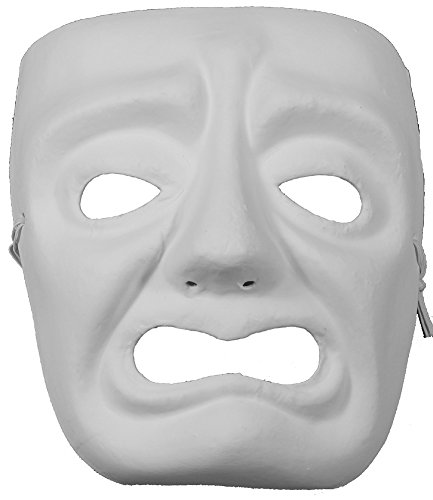 Jabbawockeez Style Venetian Masquerade White Grumpy Face Mask (Blank Mask Paper compare prices)