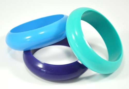 "Silli Me Jewels: ""Tangled Bangles"" - 3 Silicone Teething Chewable Bangles Bracelets for Mom to Wear and Baby to Chew (Turquoise/Navy/Skyblue)"