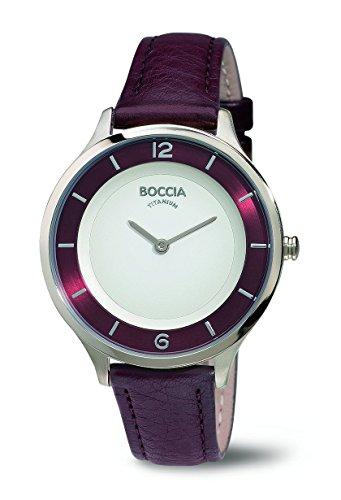 Boccia Women's Quartz Watch with White Dial Analogue Display and Purple Leather Strap B3249-02