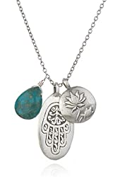 """Satya Jewelry """"Classics"""" Turquoise and Sterling Silver Hamsa Lotus Necklace, 18"""""""