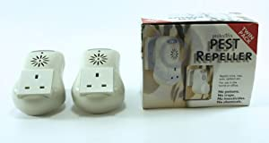 New Twin Pack Electronic Ultrasonic Pest Insect Mouse Rats Spiders Repeller With Led Night Light Additional Ac Socket