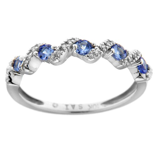 10K White Gold Round Tanzanite and Round Diamond Ring, Size 7