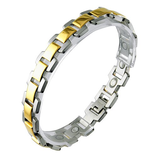 Stainless Steel with Gold PVD Magnetic Link Bracelet (8.5 IN)