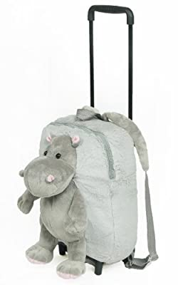 Childrens / Toddler Trolley Backpack travel bag - makes comfy pillow - ideal for boys and girls - Hippo by Creative 7