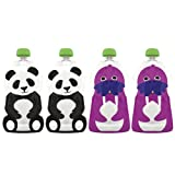 Squooshi Reusable Food Pouch, Large Panda/Walrus, 4.5 Ounce, 4-Count