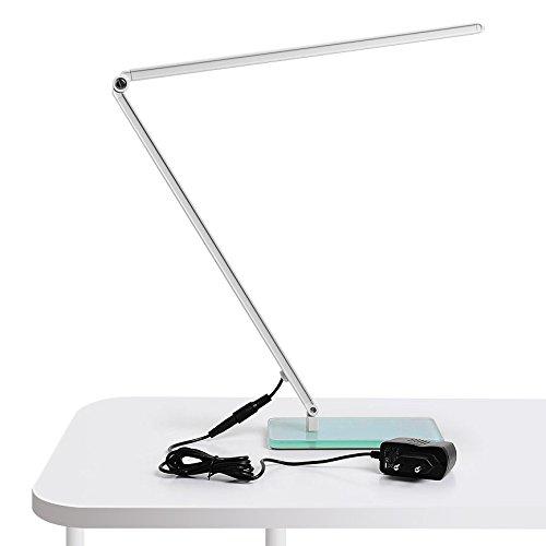 Amzdeal® Lampada da Tavolo a LED 5W 48LED Proteggere gli Occhi bianco Dimmerabili e pieghevole Lampade di lavoro Lampada da Scrivania guscio in lega di alluminio