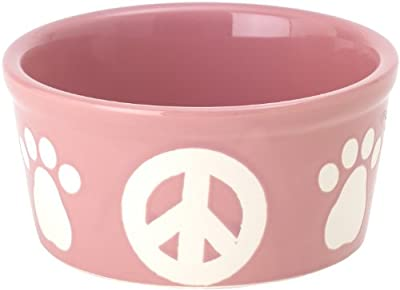 Petrageous Stoneware Pet Bowls Peace Paws, 6-Inch, 3-Cups, Peaceful Pink