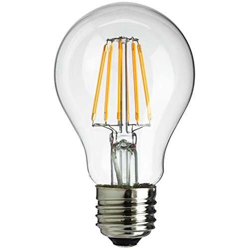 Sunlite A19/LED/AQ/6W/DIM/CL/27K 120V LED Filament A19 A-Type with Medium E26 Base and 2700K 560 Lumen Dimmable Light Bulb