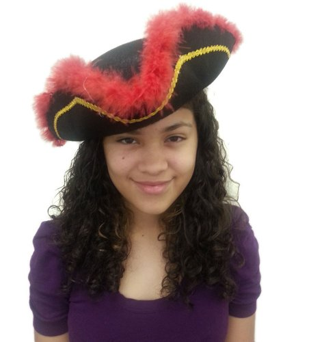 Tricorn Hat With Fur - Tricorn Black Hat With Red Fur Trim